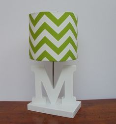 Small Chartreuse Green/White Chevron Drum Lamp Shade - Nursery, Girl's or Boy's Lamp Shade