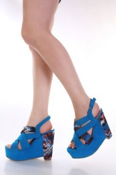 Turquoise Faux Suede Printed Woven Strap Platform Slingback Wedges