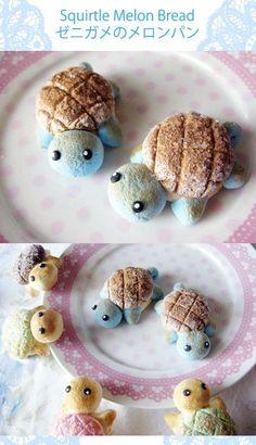 ゼニガメのメロンパン♡SQUIRTLE MELON BREAD☆ | ~\lllll/~ amai tabemono ~\lllll/~ | Pinterest