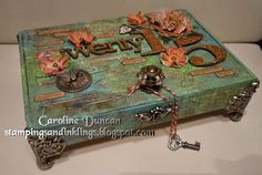 Altered Cigar Box by Caroline Duncan ~ stampingsandinklings.blogspot.com tim holtz 12 tags 2015