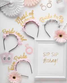 SIP SIP HOORAY Prȇt-à-Party Box! Bridal Shower themed party in a box. Call in the Bride's drinking team, POP the bubbly and shower the Bride to be! What's inside? Bridal Pack headbands: 1 Bride to be + 1 Maid of honor + 4 Bridesmaid + 4 Team Bride. Bride's Drinking Team Cups, Rose Gold Foil napkins, Gold Foil Striped Straws, Gold Foil Striped Plates, Square Dessert Plates, Gold Glitter Cutlery, tassel garland, diamond Ring Drink Markers, Scratch-offs game Cards. CLICK link to shop!