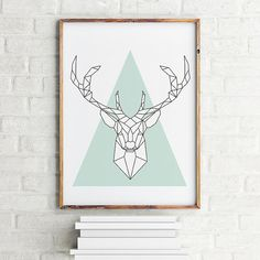 Geometric art print poster Deer Blue turquoise / Printable Digital Art…