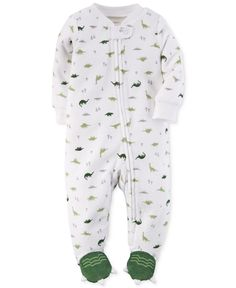 Carter's Baby Boys' Terry Dinosaur Footed Coverall