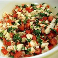 Crab Ceviche Recipe Appetizers with imitation crab meat, tomatoes, purple onion, cilantro, lime, serrano peppers, olive oil, pepper, salt