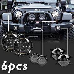 """7'' LED Headlights Amber Signal Turn Light 4"""" Fog Lamp Kit for Jeep Wrangler JK"""