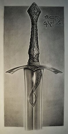 Pencil drawing of Elven sword 'Anglachel' (ORIGINAL artwork) inspired by The Lord of the Rings, The Silmarillion and The Hobbit by Tolkien.: