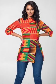 African Print Longi Kente Top African Print Longi Kente Top - African Print Longi Kente Top African Print Longi Kente Top Source by jkaruhumba - African Fashion Ankara, Latest African Fashion Dresses, African Dresses For Women, African Print Fashion, African Attire, African Women, African Blouses, African Shirts, Ankara Tops Blouses