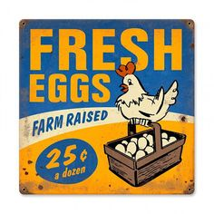 Farm Stand Fresh Eggs metal sign 12 x 12 by HomeDecorGarageArt