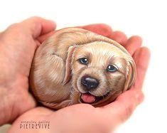 Hand painted dogs on stone, animal portrait rocks.