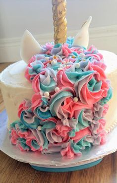 Buttercream Rosettes How to make a unicorn cake