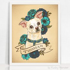 """This listing is for a custom stylized pet portrait illustrationdelivered as a high-resolution digital 11x14"""" printable file. The 11x14"""" file can be printed at"""