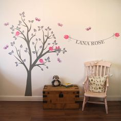 Make a personalised statement in your little one's bedroom or nursery with this stunning tree wall sticker and personalised name banner. You can customise this wall sticker by selecting alternative colours from our chart. The personalised name banner can be customised with any choice of wording but we recommend a maximum of 15 characters.Our designer wall stickers are the perfect choice if you are looking for a stylish and affordable solution for decorating your babies nursery, child's…