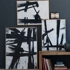 "Abstract Black + White Wall Art #WestElm  Two that are 24"" x 32""  Great for entry or hallways"
