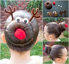 Creative Ideas - DIY Rudolph the Reindeer Bun Holiday Hairstyle | iCreativeIdeas.com Follow Us on Facebook --> https://www.facebook.com/iCreativeIdeas