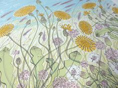 Angie Lewin 'Saltmarsh, Morston' (detail) screen print. To be exhibited at 'Nature Study', Angie's exhibition at the Sarah Wiseman Gallery in Oxford from 5th-26th September. http://www.angielewin.co.uk