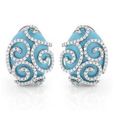 14K White Gold Designer Diamond and Turquoise Earrings 1.10ct