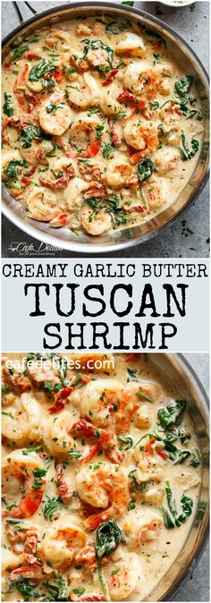 Creamy Garlic Butter Tuscan Shrimp coated in a light and creamy sauce filled wit. Creamy Garlic Butter Tuscan Shrimp coated in a light and creamy sauce filled with garlic, sun dried tomatoes and spinach! Packed with incredible flavours! Yummy Recipes, New Recipes, Cooking Recipes, Yummy Food, Healthy Recipes, Cake Recipes, Simple Recipes, Vegetarian Recipes, Butter