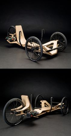 "Created by Jirka Wolff, Andreas Patsiaouras and Marcel Heise, a team of German student designers for the annual ""Akkuschrauberrennen"" competition held by the HAWK University of Applied Sciences and Arts in Hildesheim, Germany, the Rennholz presents a Velo Cargo, Wood Bike, Wooden Bicycle, Recumbent Bicycle, Reverse Trike, Pedal Cars, Bicycle Design, Go Kart, Electric Cars"
