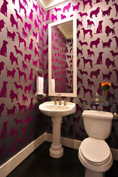 Powder bathroom with velvet dog wallpaper in Houston, Texas