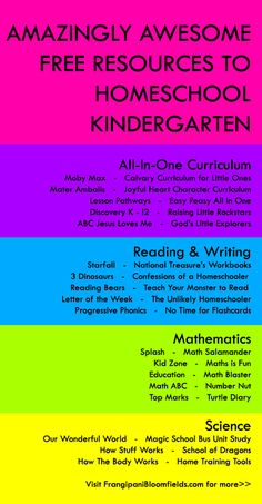 List free kindergarten homeschool curriculum resources from Frangipani Bloomfields. See it now or pin for later! All in One Curriculum | Reading | Writing | Math | Science >> More