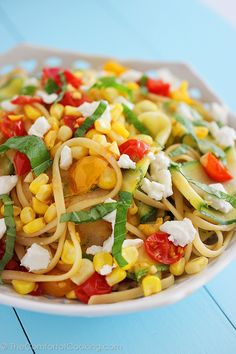 Summer Vegetable Linguini with Feta