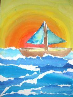 Děti pomalují jednu čtvrtku A 4 modrými odstíny barev. Na druhou čtvrtku namalují západ slunce. První modrou čtvrtku natrhají na různě široké pruhy, které dolepí do západu slunce jako moře. Jak jsou pruhy natrhané, prosvítají bílá místa, která působí jako mořská pěna. Na třetí čtvrtku nakreslí loď, kterou nakonec vystřihnou a dolepí do mořských vln. Z takto natrhaného papíru vypadají velice pěkně i mraky.
