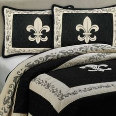 Complex stitching and the classic French Fleur de Lis design highlight this regal and chic bedding collection from Donna Sharp. Presented in a sophisticated black and tan palette, this is the perfect way to add style and elegance your bedroom. Comforter Sets, Royal Bedroom, Bed, Bed Bath And Beyond, Favorite Bedding, Chic Bedding, Fleur De Lis, Beautiful Bedding, Bedding Collections
