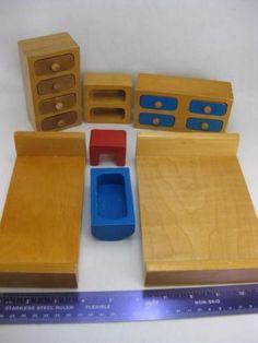 Creative-Playthings-27-Pc-Wood-Dollhouse-Furniture-Mid-Century-Modern-Finland