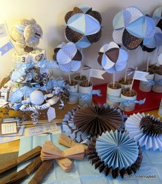 blue and brown baby shower decoration | Craft, Interrupted: The Baby Shower Comes Together