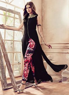Buy latest salwar kameez outfits like fashion salwar suit for women from best online shopping store. Order this faux georgette black pant style suit.