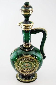 Signed Lobmeyr Bohemian Enameled Gilt PERSIAN Glass Decanter 19th Century VTG