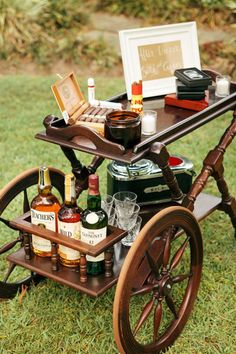 lounge coffee/ tea room, good option to eliminate a bar tender? A quirky 'After Dinner Scotch and Cigars' bar. Photo by Lucy Leonardi. Cigar Bar Wedding, Cigar Party, Wedding Men, Wedding Blog, Wedding Ideas, Cigar And Whiskey Bar, Whisky Bar, Garden Party Wedding, Garden Weddings