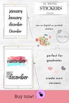 Handwritten Month Names, GoodNotes Stickers, Digital Bullet Planner Journal, Journal Cards, Journal Stickers, Planner Stickers, Hand Drawn Fonts, Logo Background, Pattern And Decoration, Printable Stickers, School Design