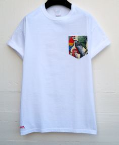 Men's Parrots Pattern White Pocket T-Shirt Men's by HeartLabelTees How To Wear Shirt, Shirt Refashion, Clothing Patterns, Clothing Ideas, Trendy Outfits, Colorful Shirts, Shirt Designs, Mens Fashion, Slow Fashion