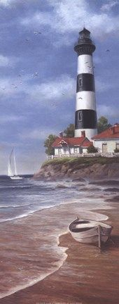Lighthouse at Isle of Shoals Lighthouse Painting, Lighthouse Pictures, Beach Scenes, Beach Art, Pictures To Paint, Painting Inspiration, Framed Art, Scenery, Canvas Art
