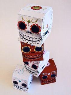 Sugar skulls Printable Paper Craft PDF by degdie on Etsy, $2.50