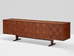 Stained walnut sideboard designed by Giuseppe Scapinelli, Italy, 1955. Photo: Wright, Chicago #mcmdaily #giuseppescapinelli #parquetry #italy mcmdaily.com