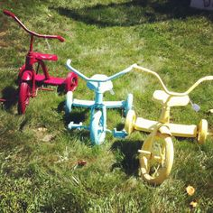 I love the old tricycles spray painted for yard art.  A Sort Of Fairytale: Junk Bonanza 2012 !