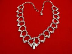 AMAZING Vintage 16  1940s rhinestone necklace  with by jeanmc, $65.00