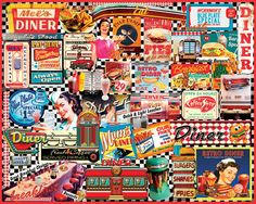 WHITE MOUNTAIN PUZZLES, Vintage Diners. Do-It-Yourself jigsaw puzzle, boxed attractively with the picture of the puzzle on the cover! 1000 pcs. (Product#: WMP-999) #Food #Nostalgic #Hobby