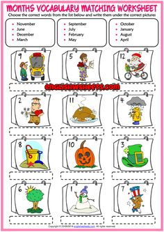 Months Vocabulary ESL Matching Exercise Worksheet