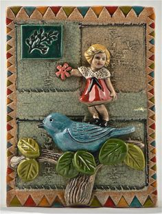 Ceramic Tile Girl on Bluebird Holding Flower by tilebyfire on Etsy