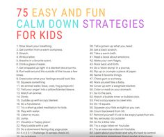 75 Easy and Fun Calm Down Strategies for kids (that they'll love!) health activities health care health ideas health tips healthy meals Mental Health Activities, Wellness Activities, Kids Mental Health, Mental Health Retreat, Calming Activities, Children Health, Kid Activities, Emotional Regulation, Emotional Development