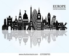 Find Europe Skyline Detailed Silhouette Vector Illustration stock images in HD and millions of other royalty-free stock photos, illustrations and vectors in the Shutterstock collection. Thousands of new, high-quality pictures added every day. Europe Places, Countries Europe, Europe Europe, Europe Packing, Backpacking Europe, Europe Destinations, Travel Europe, Eastern Europe, Travel Agency Logo