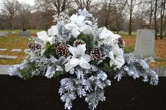 Items similar to White Snow and Ice Saddle on Etsy Arrangements Funéraires, Funeral Flower Arrangements, Christmas Arrangements, Christmas Centerpieces, Grave Flowers, Cemetery Flowers, Church Flowers, Funeral Flowers, Christmas Swags