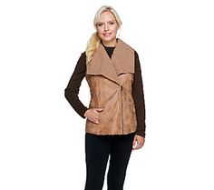 Belle Gray by Lisa Rinna Faux Sherling Zip Front Vest