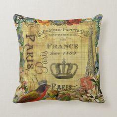 Vintage Paris French Design on Parchment paper Throw Pillow Vintage Paris, Vintage Shops, Custom Pillows, Decorative Pillows, Paris Gifts, French Pillows, Paris Illustration, Paris Art, Paris Theme