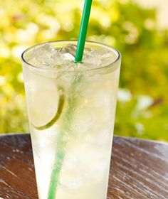 Starbucks Refreshers Cool Lime Real fruit juice, mint and a lime slice shaken with Green Coffee Extract for a boost of natural energy, served over ice.