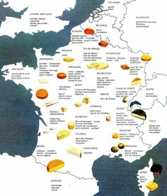 French etiquette says that a perfect cheese board includes different types of cheeses: goat cheese, soft rind cheese (like Camembert or Brie), hard rind cheese (like Comté or Beaufort), washed rind cheese (like Epoisses or Maroilles), blue cheese. France Map, France Travel, Fromage Cheese, French Cheese, Thinking Day, In Vino Veritas, Wine Cheese, How To Make Cheese, Gouda