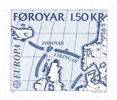 ISLAS FEROE, 1982 Rutas vikingas del Atlántico Norte con una proyección de tipo sinusoidal.